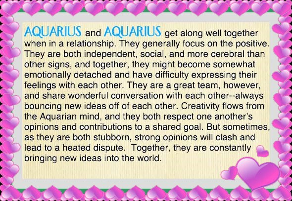 Aquarius Aquarius Free Horoscope Compatibility